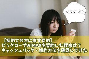 ビッグローブWiMAX 契約 キャッシュバック
